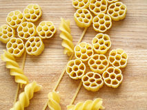 Pasta. Close up pasta on wooden dask Stock Image
