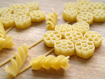 Pasta. Close up pasta on wooden dask Stock Images