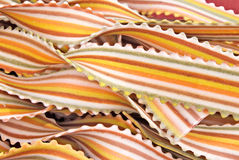 Pasta. Closeup of mother in laws tongue italian . Made of saffron, paprika, beet, spinach, tomato, and squid ink Stock Image