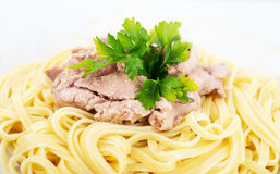 Pasta with cod liver Stock Image