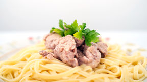 Pasta with cod liver Royalty Free Stock Photo