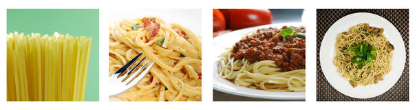 Pasta colage cooked and uncooked. Cooked and uncooked pasta collage from four photographs Royalty Free Stock Photography