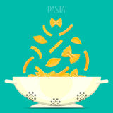 Pasta in bowl. Different pasta soar over the cup. Vector composition.  Stock Images