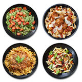 Pasta Collage isolated Overhead View Royalty Free Stock Photography