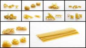 Pasta collage on white background. Various types of pasta collage on white background Stock Photo