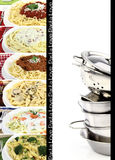 Pasta collection. Variety of pasta and kitchen utensils Royalty Free Stock Photos