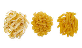 Pasta collection. Isolated on the white background Royalty Free Stock Photos