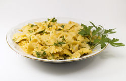 Pasta Collection - Farfalle with white fish souce Royalty Free Stock Images