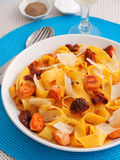 Pasta collection - Fettuccine with dried tomatos Stock Images