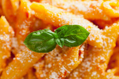 Pasta collection - Penne with cream and peppers Stock Photo