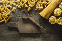 Pasta collection. On rustic wooden background Royalty Free Stock Image