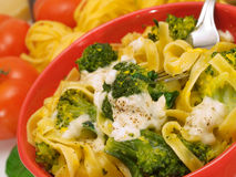 Pasta Collection - Tagliatelle With Broccoli and Mozzarella Stock Photos
