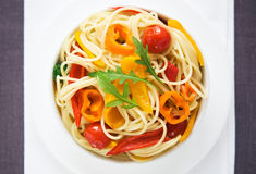 Pasta with colorful vegetables Stock Image