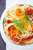 Pasta with colorful vegetables Royalty Free Stock Photo