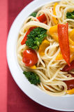 Pasta with colorful vegetables Royalty Free Stock Photography