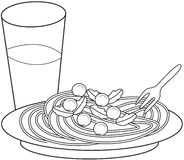 Pasta coloring page Royalty Free Stock Images
