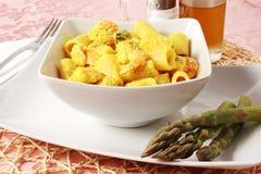 Pasta con asparago e gambero Fotografie Stock