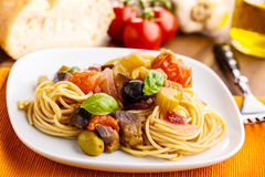 Pasta con caponata Royalty Free Stock Photos