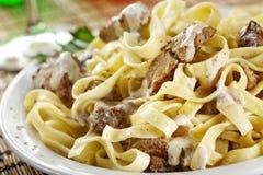 Pasta con carne Fotografie Stock