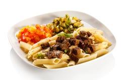 Pasta con carne Immagine Stock