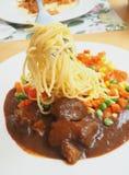 Pasta con carne di maiale arrostita Fotografia Stock