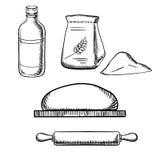 Pasta con el rodillo, la harina y la leche libre illustration