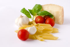 Pasta con fogmaggio. Pasta with cheese and tomatos Royalty Free Stock Photo