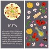 Pasta con gli ingredienti Immagine Stock