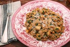 Pasta con i funghi Fotografia Stock