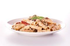 Pasta con il pesto del basilico Fotografia Stock Libera da Diritti