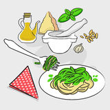 Pasta con il pesto - ricetta italiana Fotografia Stock Libera da Diritti