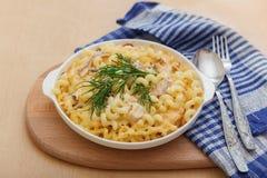 Pasta con il pollo ed il formaggio Immagini Stock