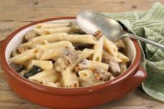 Pasta con il pollo ed il fungo immagini stock libere da diritti