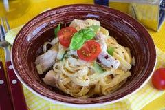 Pasta con il raccordo del pollo, crema, cipolla Fotografia Stock