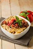 Pasta con la salsa italiana della carne di salsiccia Fotografia Stock Libera da Diritti