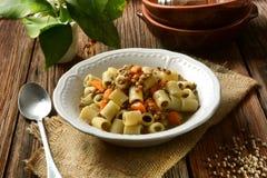 Pasta con le lenticchie e le carote fotografia stock