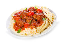 Pasta con le polpette e la salsa di pomodori immagine stock