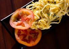 Pasta con le uova Fotografie Stock Libere da Diritti