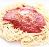 Pasta con salsa al pomodoro Fotografia Stock Libera da Diritti
