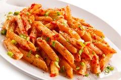 Pasta con salsa al pomodoro Fotografia Stock