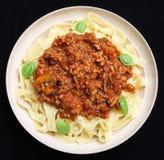 Pasta con salsa bolognese Fotografie Stock