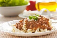 Pasta con salsa bolognese Immagini Stock