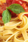 Pasta con salsa e un foglio del basilico Fotografie Stock Libere da Diritti