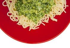 Pasta con spinaci Fotografia Stock Libera da Diritti