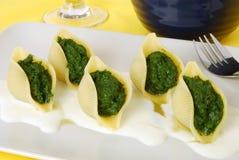 Pasta con spinaci Immagini Stock Libere da Diritti