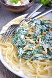 Pasta con spinaci e feta Fotografia Stock