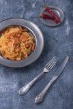 Pasta con stile rustico italiano del pollo Fotografia Stock Libera da Diritti