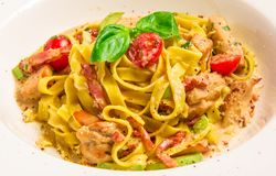 Pasta Con Sugo with rabbit sauce, parmesan cheese Stock Photography