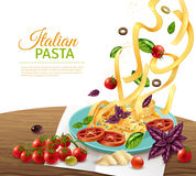 Pasta Concept Poster. Italian fettuccine pasta with tomatoes olives and herbs realistic concept poster vector illustration Stock Photo