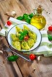 Pasta conchiglie con pesto genovese Royalty Free Stock Images